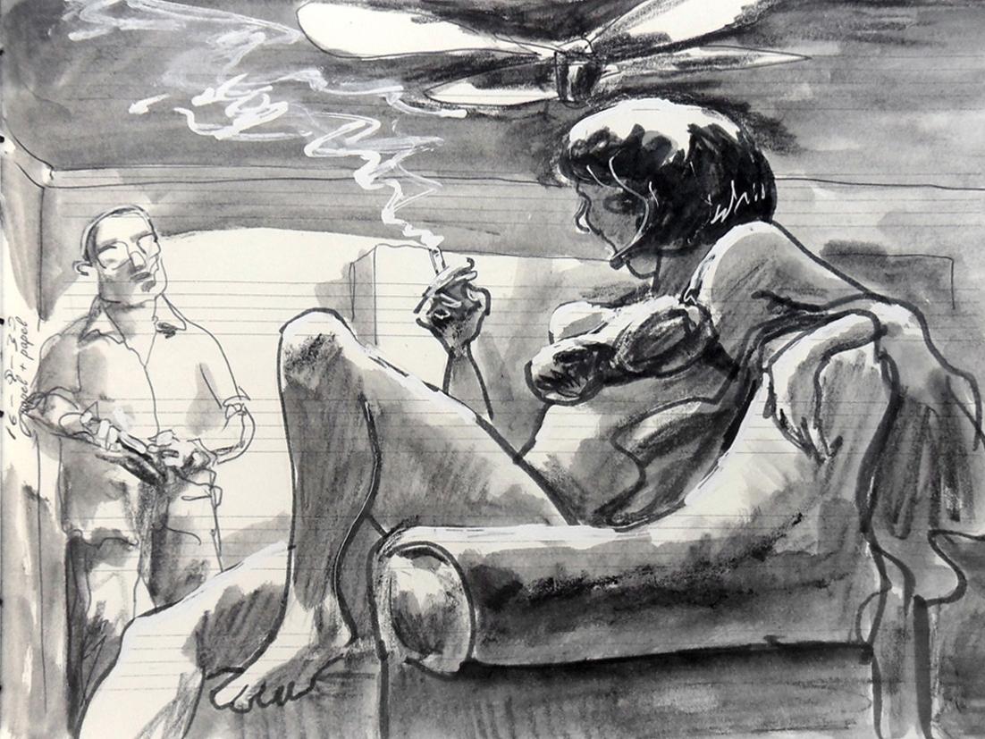 Untitled chiaroscuro smoke fan couple mixed media pentel brush marker illustration art drawing