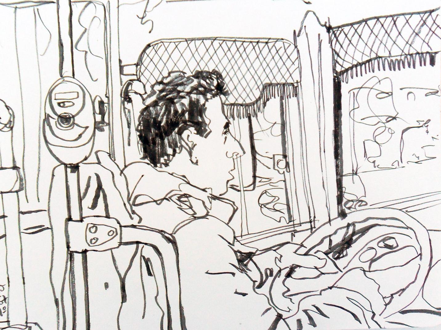 Line 67 Bus Driver bus public transport urban sketching sketchbook art illustration drawing