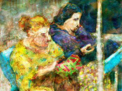 Two women in the train