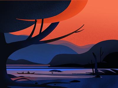 Natural vector illustration vector art mountain water tree vector illustrations characters design graphic illustration illustrator modern color