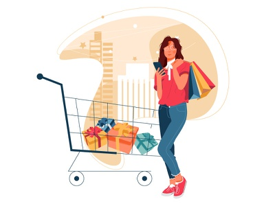 Empty states - no product in cart kit ecommerce minimal empty cart draw art woman vector illustration design graphic characters modern color