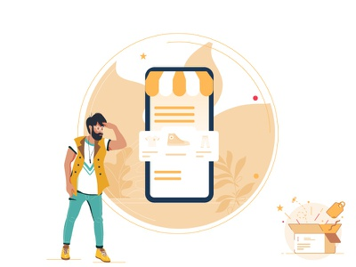 Empty states - no order yet ecommerce shopping clothes drawing art phone man box vector ui web illustration illustrations characters modern color graphic design