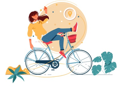 Empty States - No shipping address fall down colorfull woman girl plant bicycle draw art vector ui illustration design graphic illustrations characters web modern color