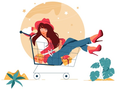 Emty states - No product in cart empty states plant ecommerce woman cart vector ui illustration design graphic illustrations characters web modern color