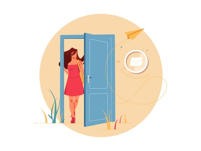 Login to view message digital draw message woman door vector ui illustration design graphic illustrations characters web modern color