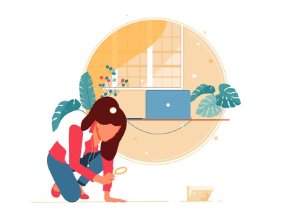 Empty states catalog - no content yet vectors woman vector plants labtop book ui illustration design graphic illustrations characters web modern color