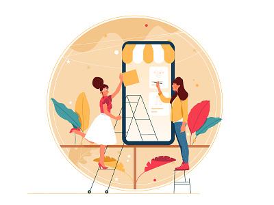 Create Store plants plant designer create shop woman draw digital vector ui illustration design graphic illustrations characters web modern color
