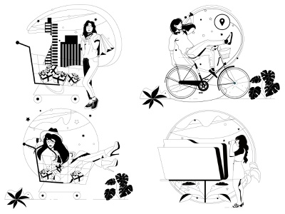 Empty States empty states shop shopping gifts lines bicycle [lants folder woman cart ui illustration design graphic illustrations characters web modern color