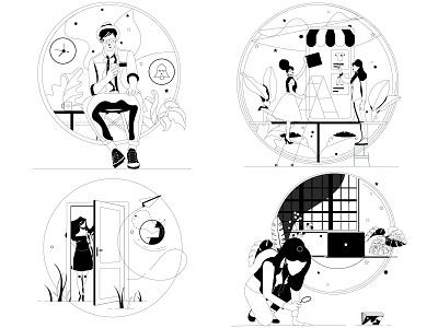 Empty states grass labtop desk plants colock woman man ui illustration design graphic illustrations characters web modern color