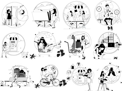 Empty states outline draw art mans womans vector ui illustration design graphic illustrations characters web modern