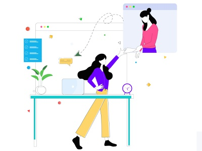 Team Work Send Message labtop lines plant paper send draw drawing vector womans web illustration design graphic illustrations characters color modern