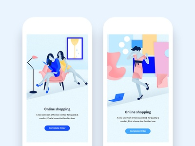 Illustration Shopping phone android photoshop kit blue illustrations ui graphic modern design characters web