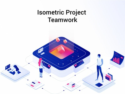 Isometric Project Teamwork art clean adobe 2d vector design illustrator modern graphic illustrations characters color web