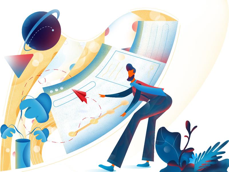 Send a Message abstract art brush 2d adobe color illustrator vector web design modern graphic illustrations