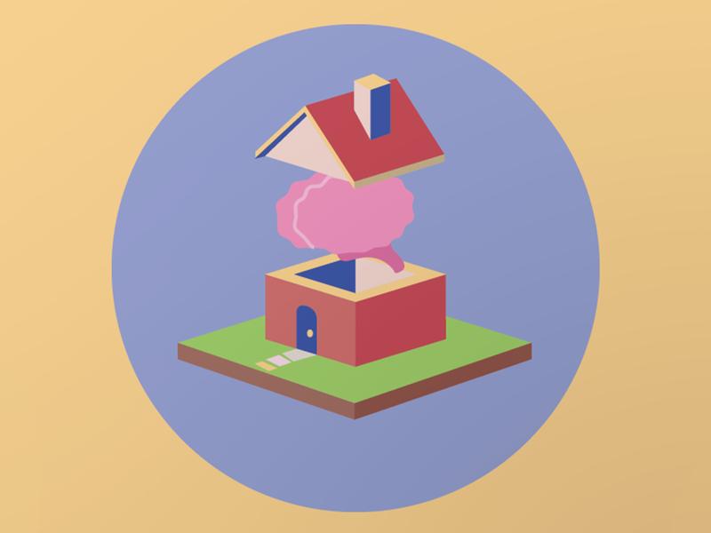 Brain House graphic art isometric icon vector illustration