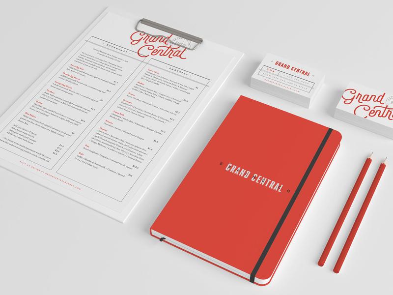 Grand Central / Bakery / Identity System business card design menu design print design bakery typography restaurant logo restaurant branding bakery logo graphic design studio contemporary color palette design studio branding clean design