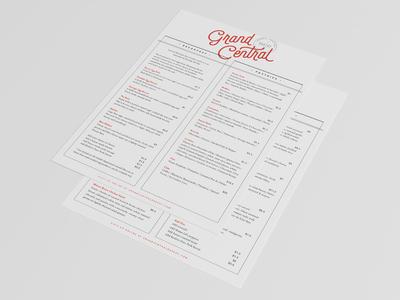 Grand Central / Cafe / Menu