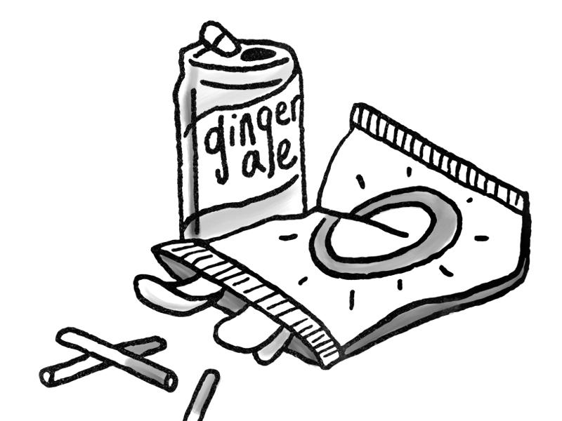 Chips and Cigs snacks doodle black and white illustration cigarettes bag crisps potato chips can soda pop ginger ale