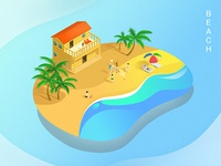Vector painting of Beach