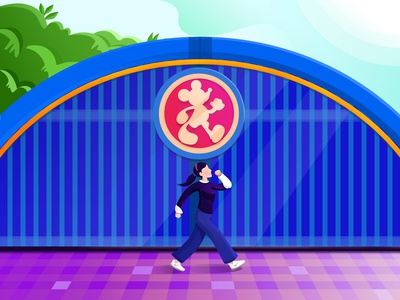A girl walk through the Disney gate