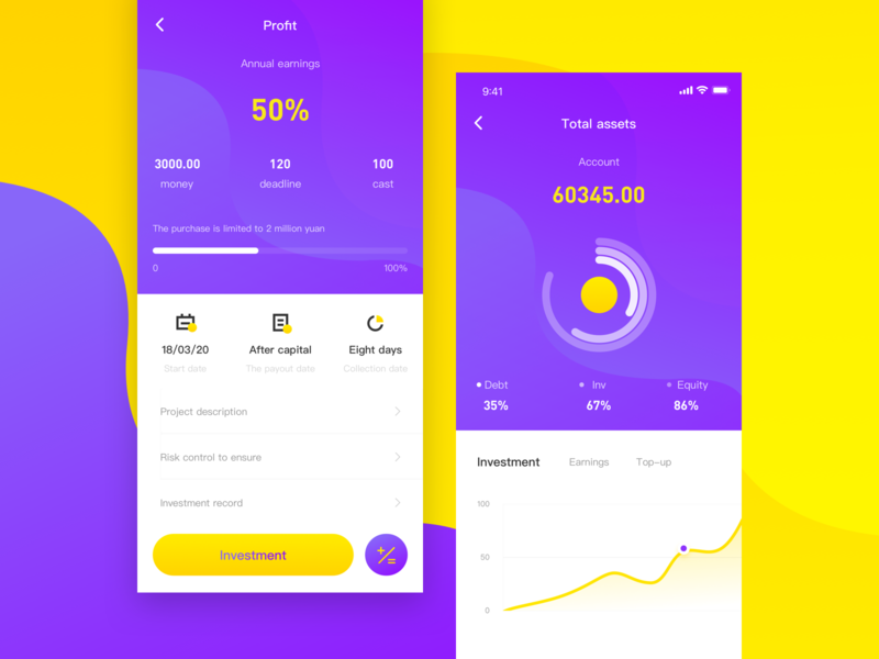 Investment And Financing Attempt ui design app、ui