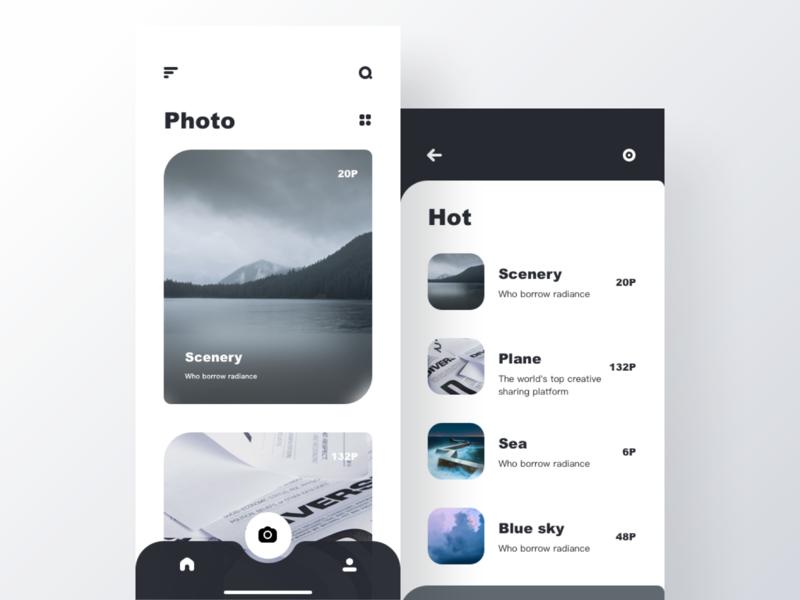 Photo colour app ux icon app、ui design ui
