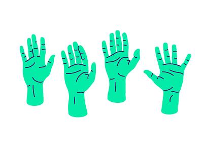 A show of hands illustration digital hands