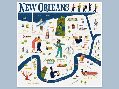 Illustrated Map of New Orleans dancing jazz neworleans illustratedmap map vector illustration handlettering illustraion illustration