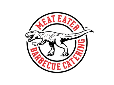 Meat Eater Logo bbq butcher knife cleaver food branding design graphic logo dinosaur