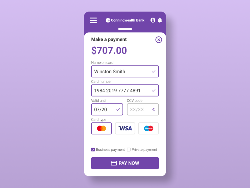 Daily UI Challenge No. 2 - Credit Card Payment sketch xd figma mastercard paypal visa security cyber online pay card credit design ux dailyui ui money bank