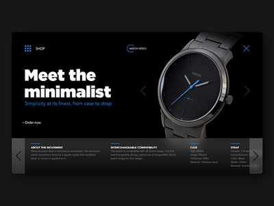 Daily UI Challenge No. 3 - Product Landing Page clean black minimalist minimal adobe xd figma sketch ui online sell buy website web shop product fossil daily ui dailyui watch
