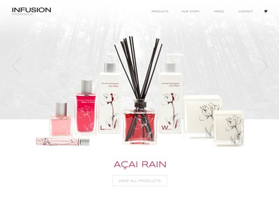 Infusion Organique Website ecommerce parallax photography