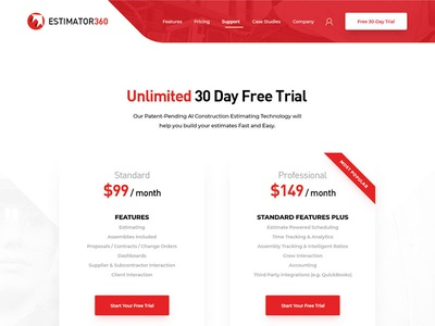 Pricing Page Design construction table pricing website
