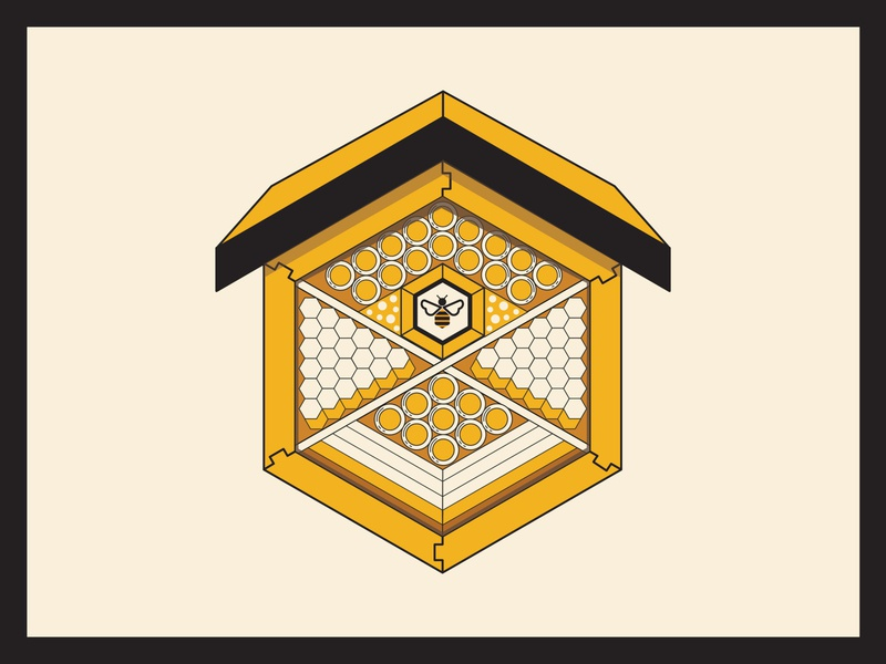 The Bee Hotel marketing post content concept illustrator insect house roof tube home infographic graphicdesign illustration bugs bees hexagon hotels sustainable environment hotel bee