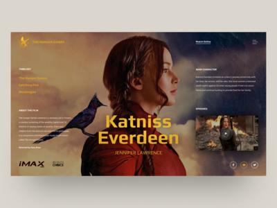 Cinema caracter - Katniss Everdeen. Website design