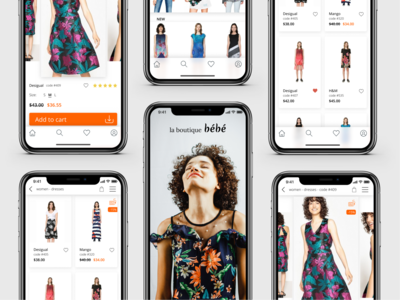 Mobile app design concept. Boutique