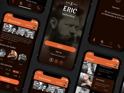 Mobile app design concept. Barbershop