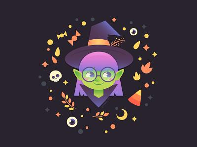 Halloween Witch halloween design magic hat glasses girl cute stylized witch halloween design illustrator drawing flat character cartoon illustration vector