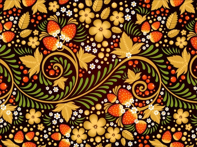 Traditional Russian Ornament Seamless Pattern seamless vector illustration khokhloma pattern texture fabric floral folk berry repeating national