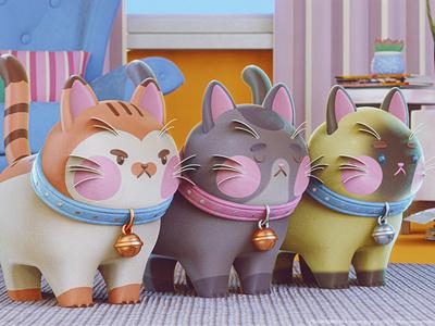 Funny Cats stylized cartoon character animation blender3d eeveerender blender characterdesign 3d character 3d cat animal character cartoon