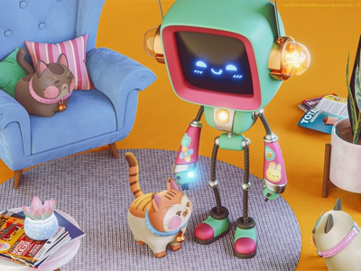 Robot & Cats game animation blender3d design render kids art cute robot cats stylized cartoon 3d character 3d character design 3d art blender