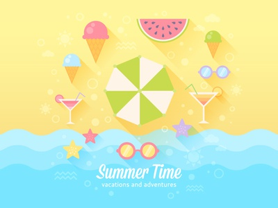 Summer flat card  sea ice-cream watermelon sunglasses icons holiday vacation flat summer illustration illustrator vector