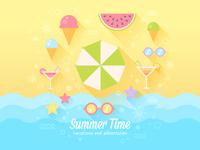 Summer flat card