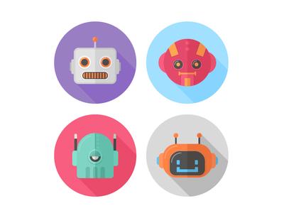 Flat robots icons cartoon cyborg android interface draw illustrator illustration design vector icons robot flat