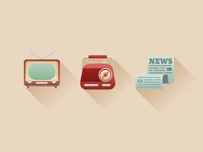 Retro Media Icons flat design web grain newspaper radio tv media affinity vector retro icons