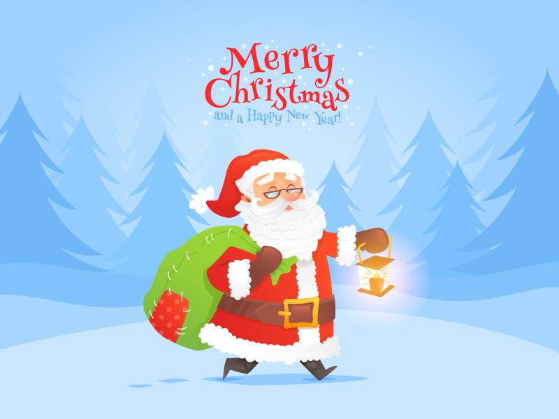 Santa Claus Christmas Card by Yulia Sokolova | Dribbble | Dribbble