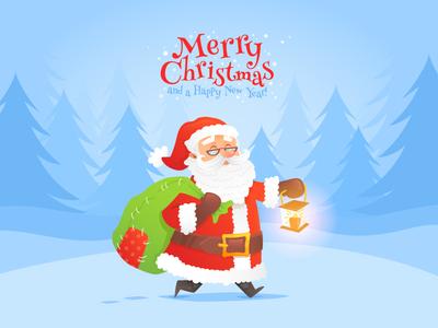 Santa Claus Christmas Card vector cartoon winter new year merry christmas card character santa claus