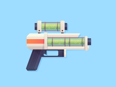 Sci-Fi Flat Blaster handgun futuristic fantastic design cartoon sci-fi blaster gun weapon illustration flat vector