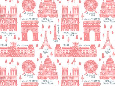 Paris Seamless Pattern drawing sketch sightseeing tower eiffel france paris travel pattern seamless illustration vector