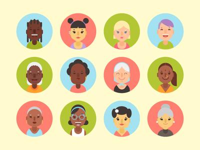 Diverse Women Avatars  design web illustrator portrait illustration icon avatar vector flat girl woman
